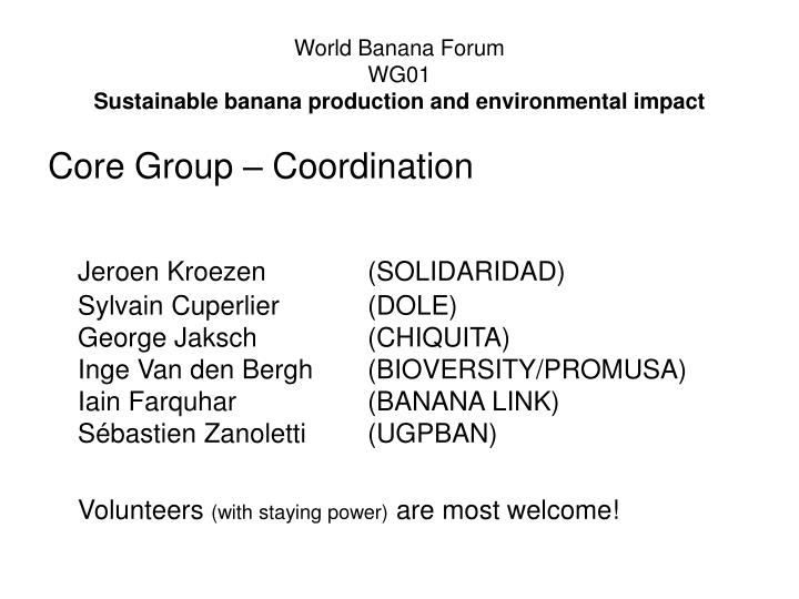 World banana forum wg01 sustainable banana production and environmental impact
