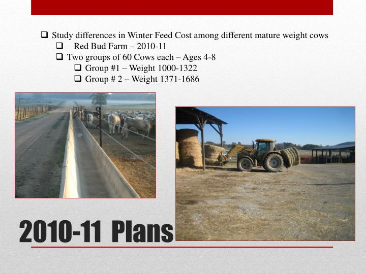 Study differences in Winter Feed Cost among different mature weight cows