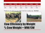 cow efficiency by weight cow weight ww cw1