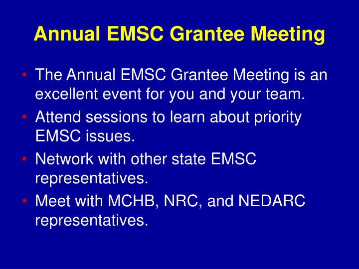 Annual EMSC Grantee Meeting