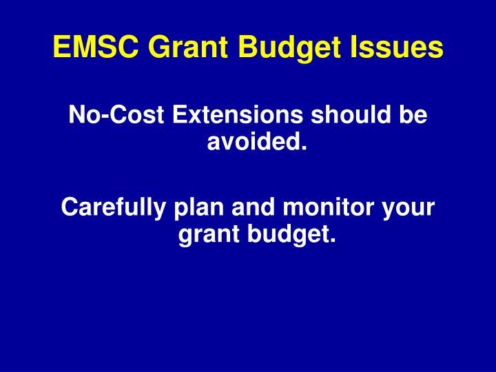 EMSC Grant Budget Issues