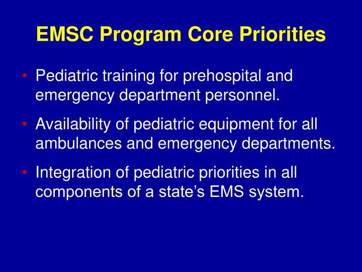 EMSC Program Core Priorities