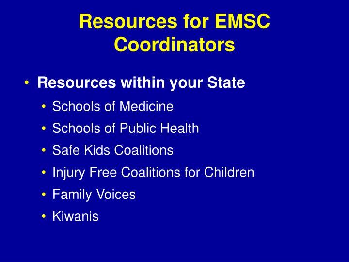 Resources for EMSC Coordinators