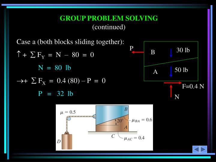 Case a (both blocks sliding together):