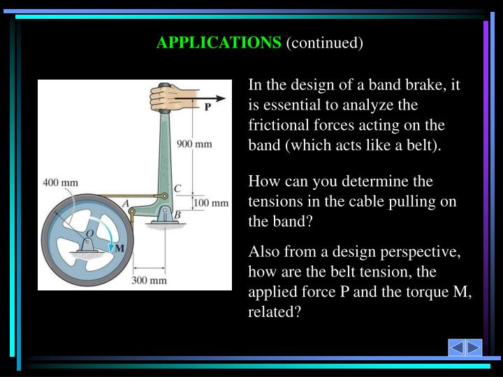 In the design of a band brake, it is essential to analyze the frictional forces acting on the band (which acts like a belt).