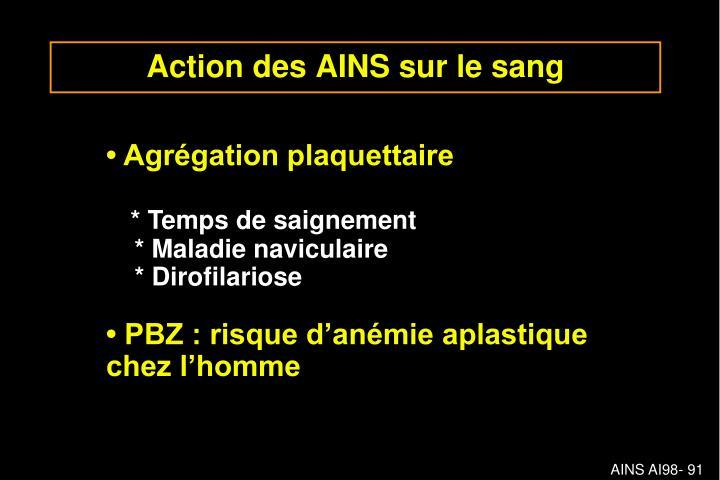 Action des AINS sur le sang