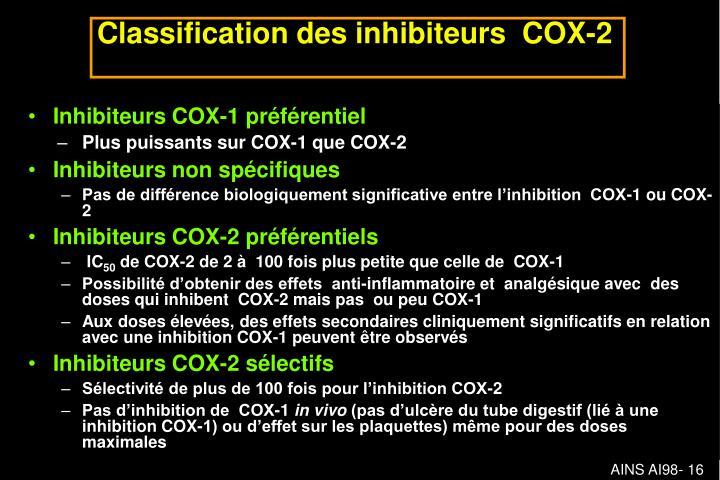 Inhibiteurs COX-1 préférentiel