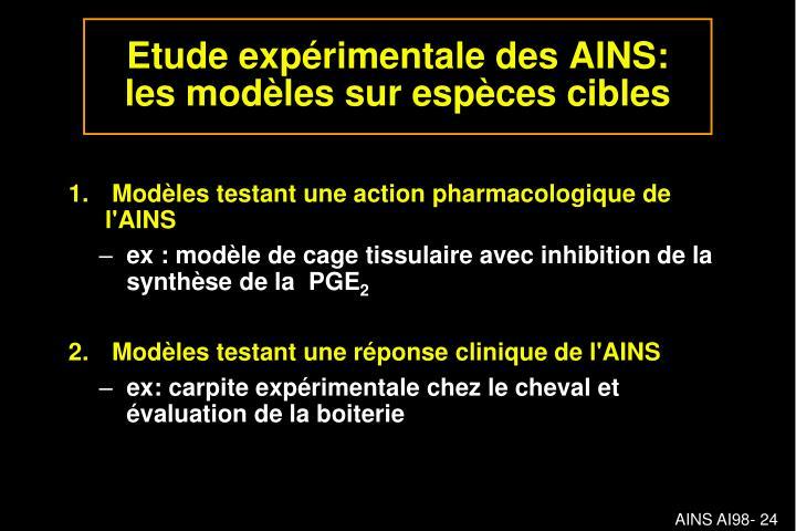 Modèles testant une action pharmacologique de l'AINS