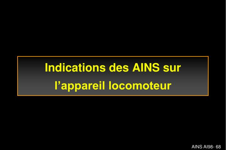 Indications des AINS sur l'appareil locomoteur