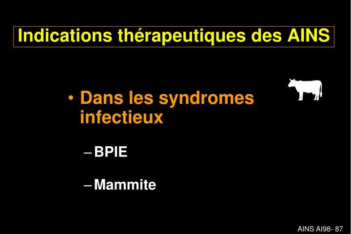 Dans les syndromes infectieux