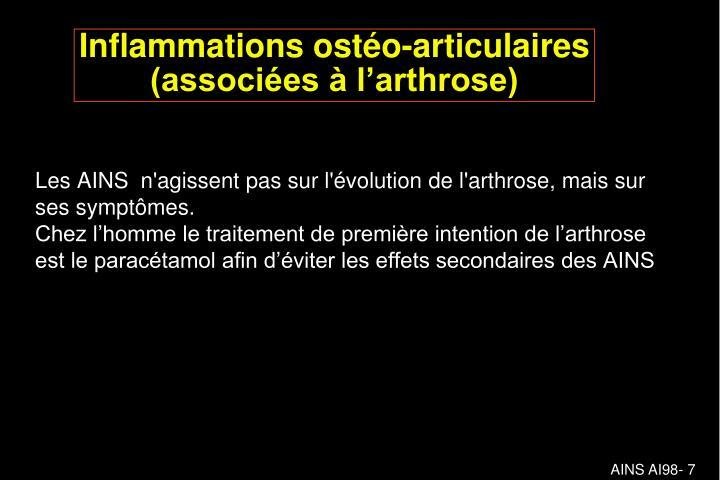 Les AINS  n'agissent pas sur l'évolution de l'arthrose, mais sur ses symptômes.