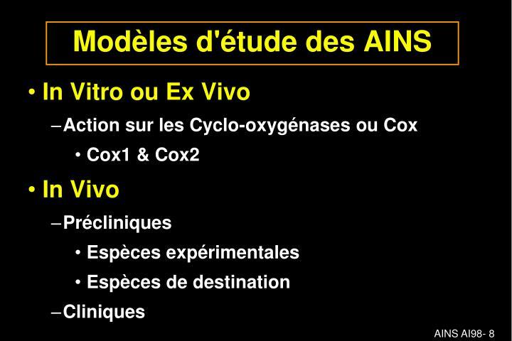 Modèles d'étude des AINS
