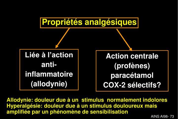 Propriétés analgésiques