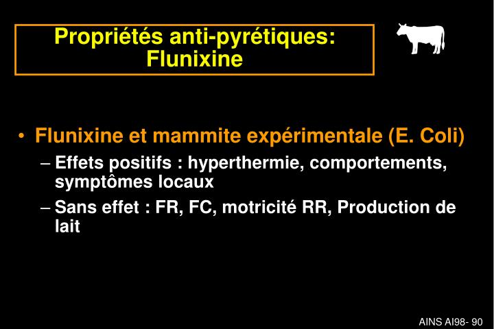 Flunixine et mammite expérimentale (E. Coli)