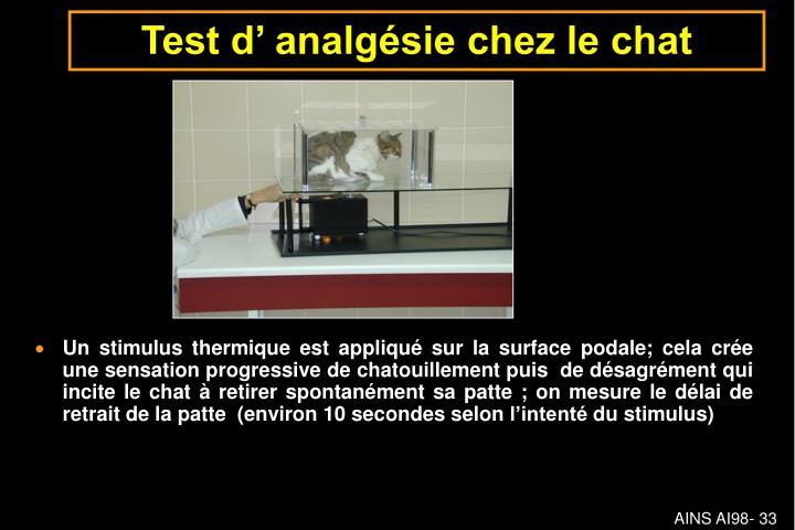 Test d' analgésie chez le chat