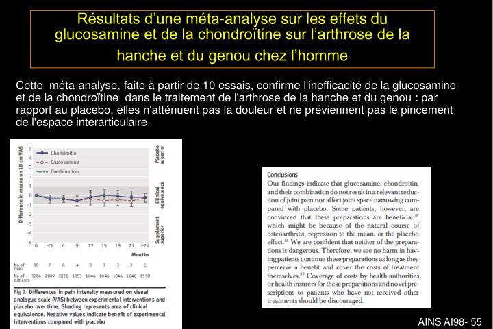 Résultats d'une méta-analyse sur les effets du glucosamine et de la chondroïtine sur l'arthrose de la hanche et du genou chez l'homme