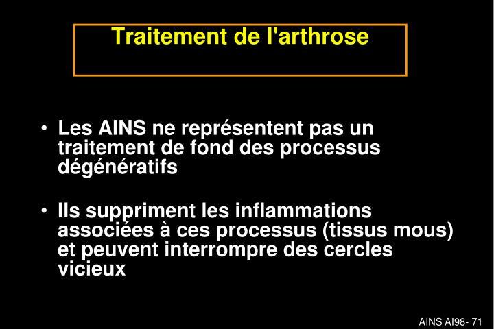 Les AINS ne représentent pas un traitement de fond des processus dégénératifs