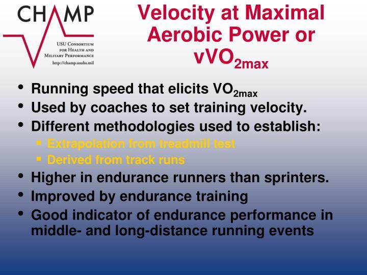 Velocity at Maximal