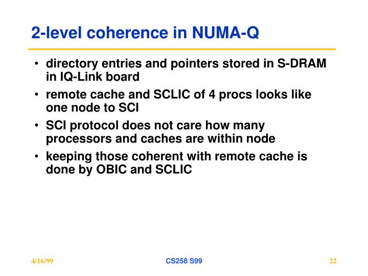 2-level coherence in NUMA-Q