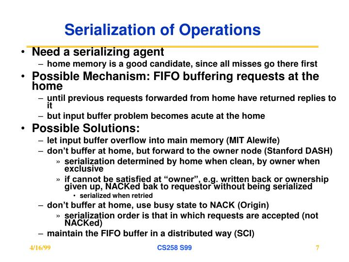 Serialization of Operations