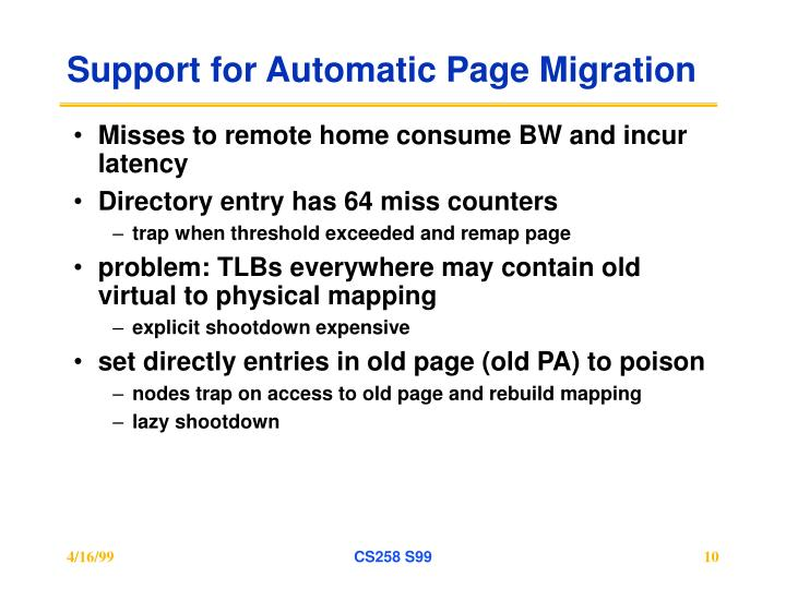 Support for Automatic Page Migration