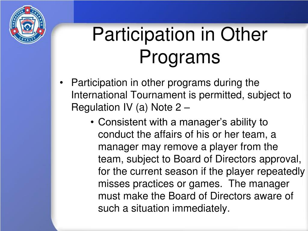 Participation in Other Programs