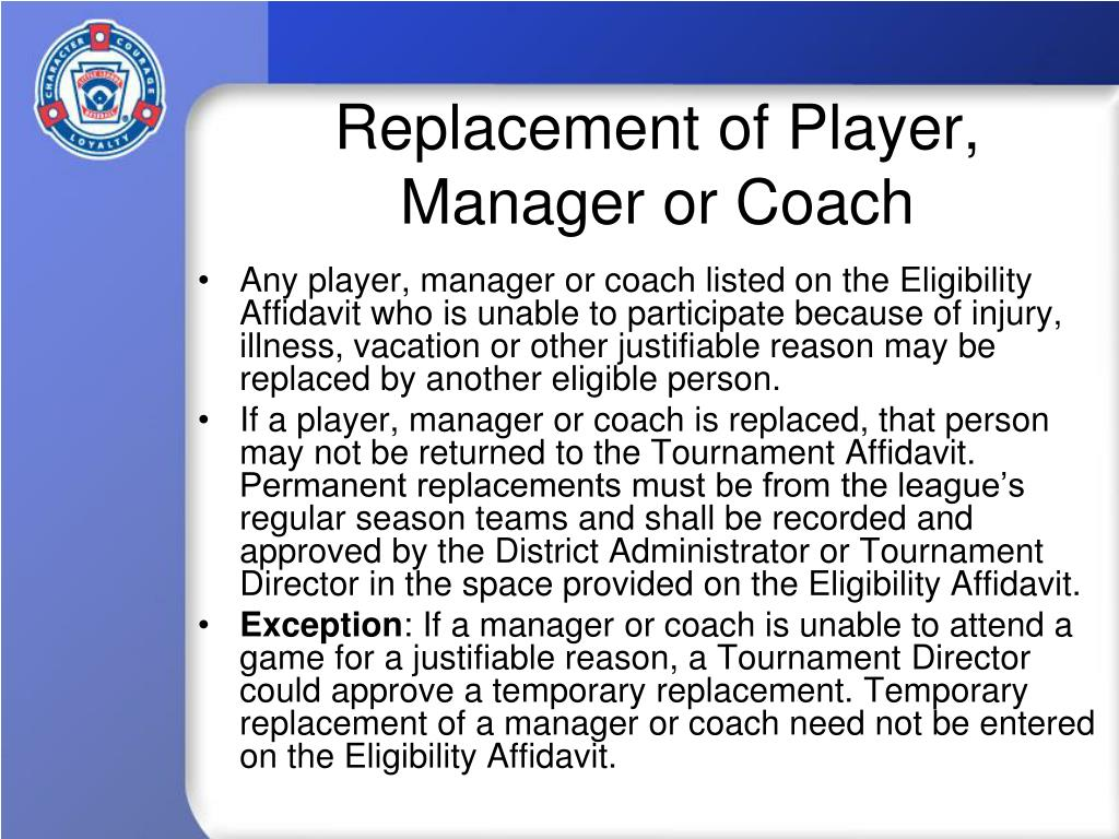 Replacement of Player, Manager or Coach
