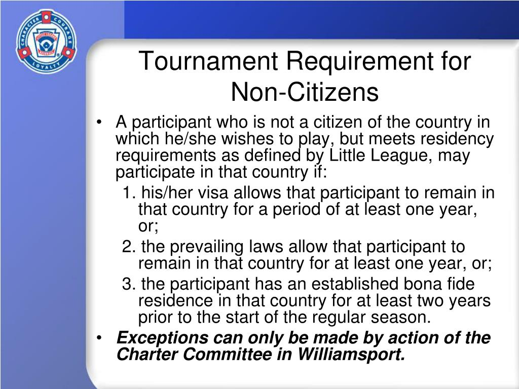 Tournament Requirement for