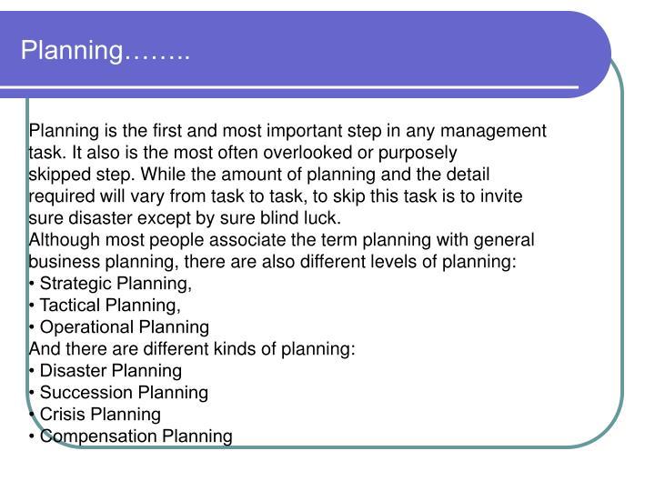 Planning……..