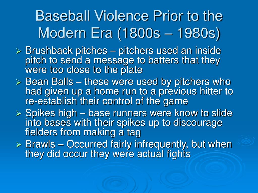 Baseball Violence Prior to the Modern Era (1800s – 1980s)