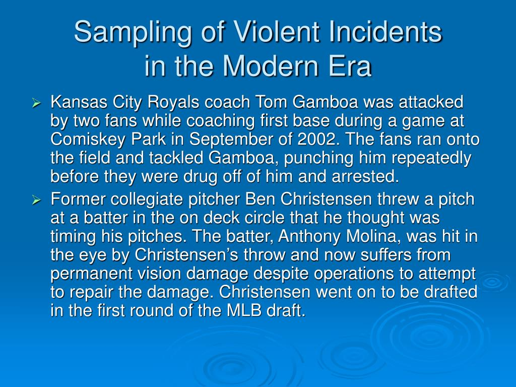 Sampling of Violent Incidents