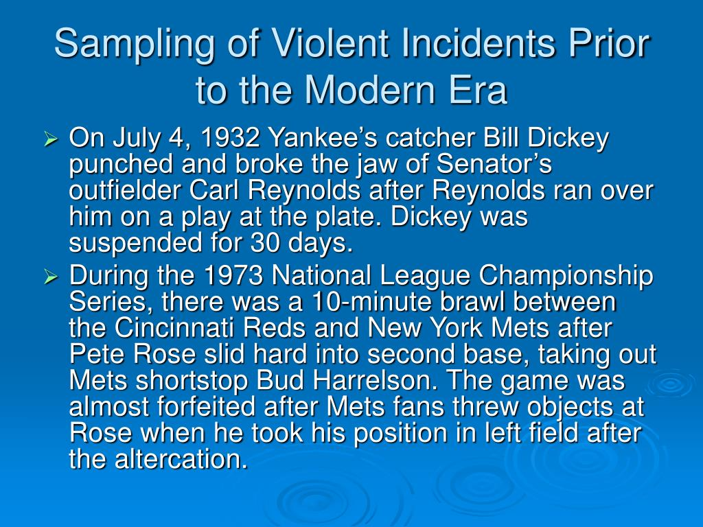 Sampling of Violent Incidents Prior to the Modern Era
