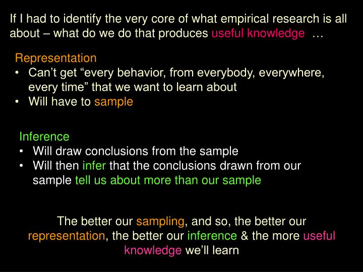If I had to identify the very core of what empirical research is all about – what do we do that pr...
