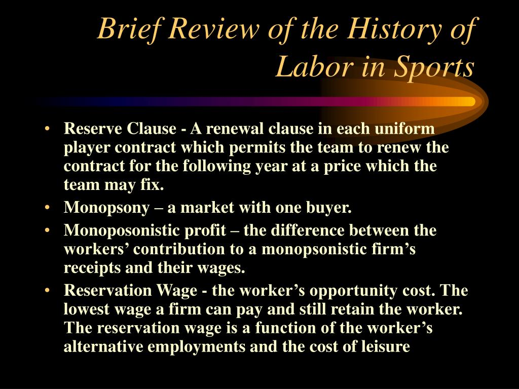 Brief Review of the History of Labor in Sports
