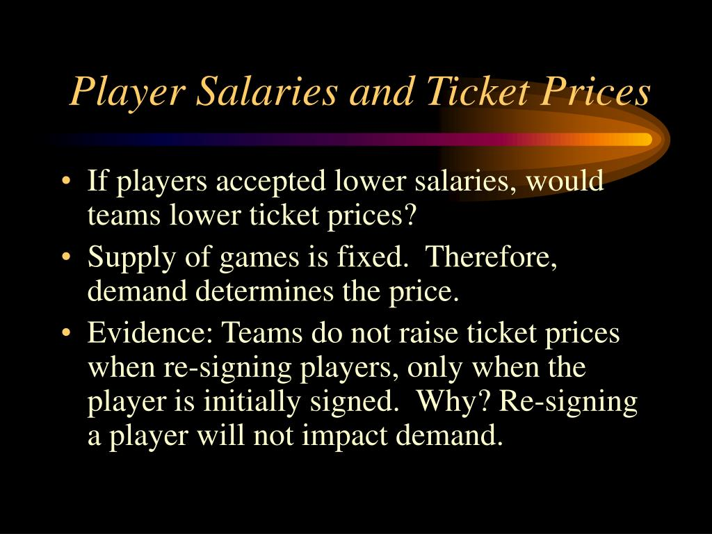 Player Salaries and Ticket Prices