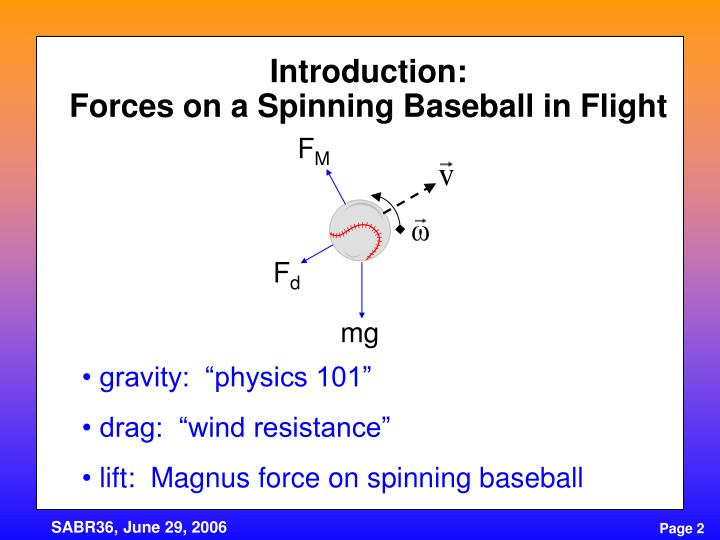 Introduction forces on a spinning baseball in flight