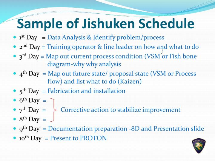 Sample of Jishuken Schedule