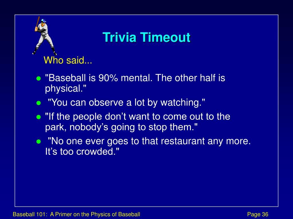 Trivia Timeout