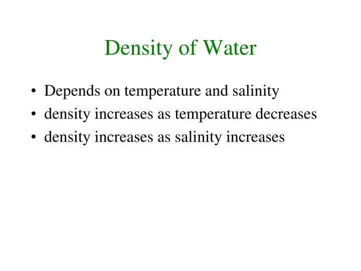 Density of Water