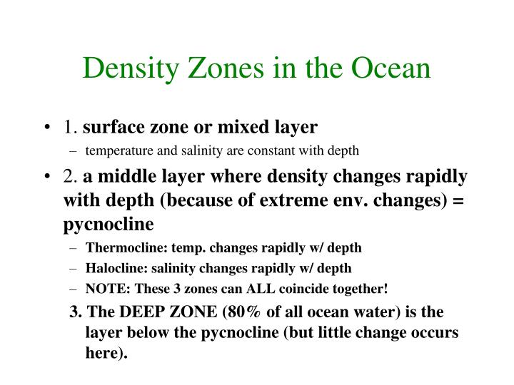 Density Zones in the Ocean