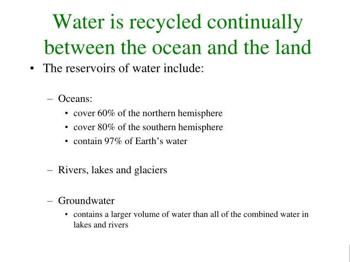 Water is recycled continually between the ocean and the land