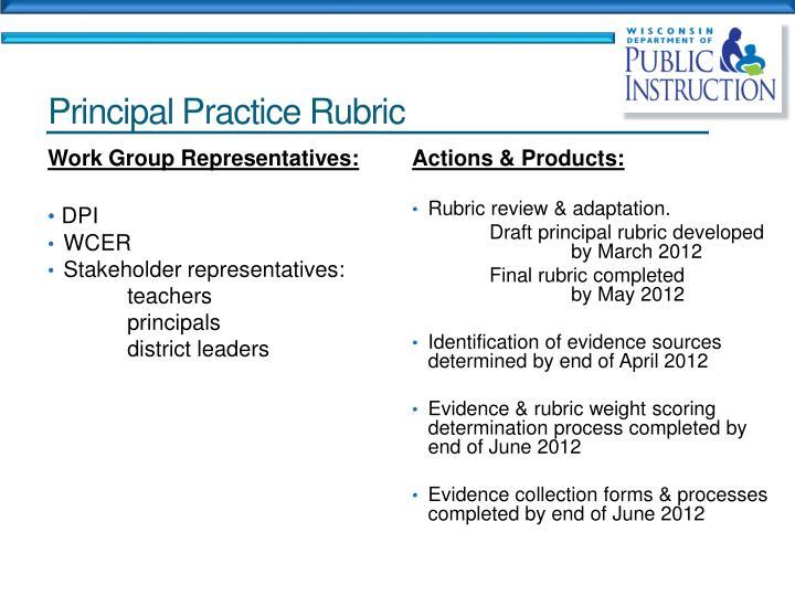 Principal Practice Rubric