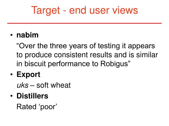 Target - end user views
