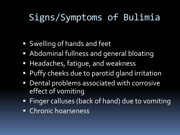 Signs/Symptoms of Bulimia