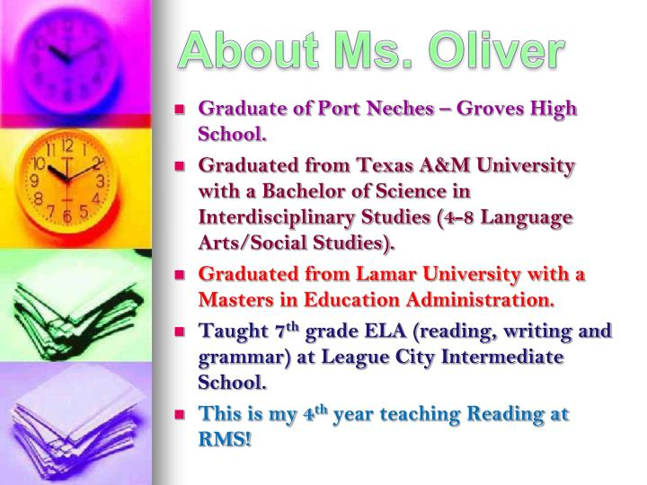 About Ms. Oliver