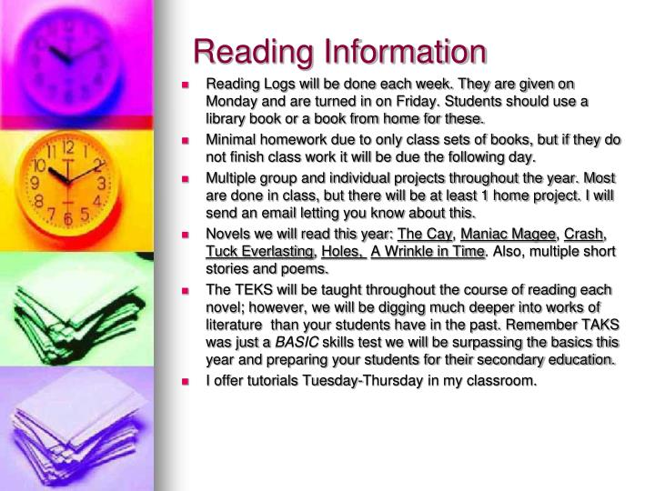 Reading Information