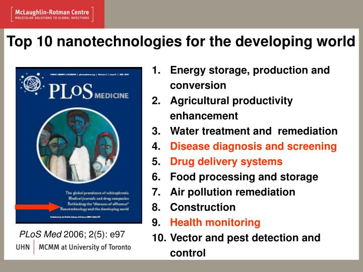 Top 10 nanotechnologies for the developing world