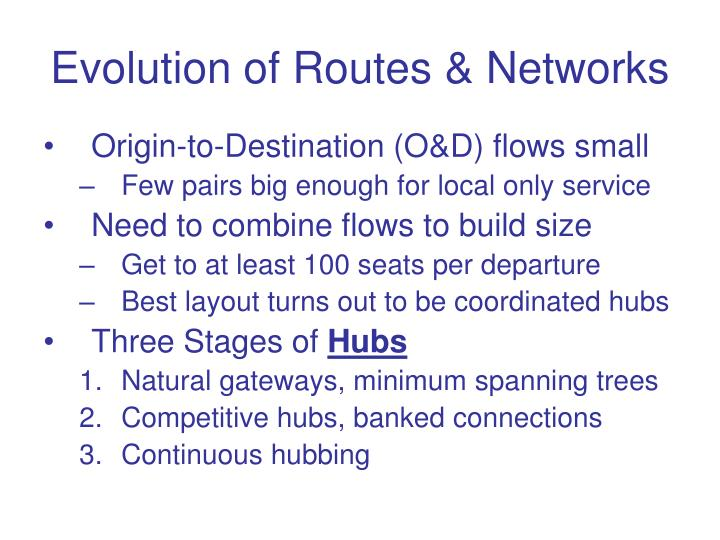 Evolution of Routes & Networks