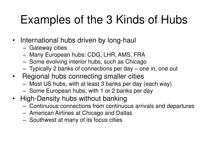 Examples of the 3 Kinds of Hubs