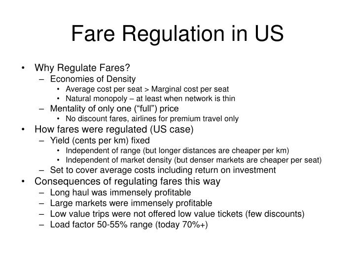 Fare Regulation in US